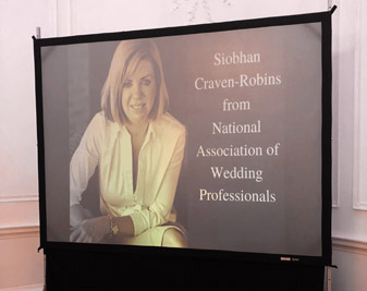Image of Siobhan's video display at the SW Wed Meetup at Rockbeare Manor